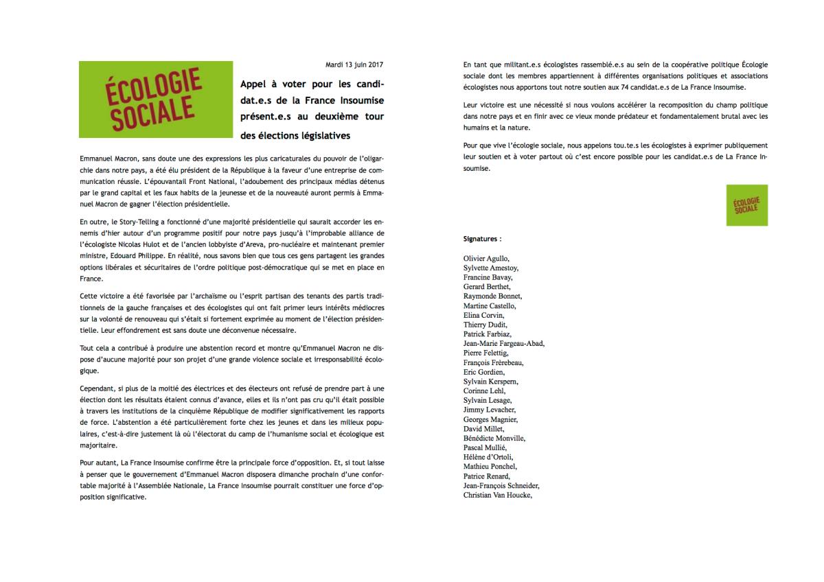 Appel à voter pour les candidat.e.s de la France Insoumise présent.e.s au deuxième tour des électionslégislatives
