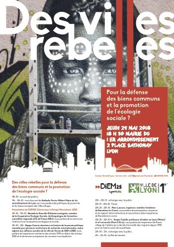 Villes rebelles, La coopérative écologie sociale participe au débat organisé par la mairie du 1er arrondissement de Lyon ce jeudi 24 mai 2018@Mairie1Lyon
